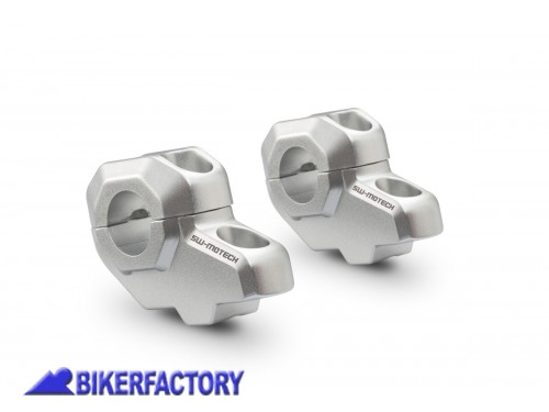 BikerFactory Prolunghe inclinate riser manubrio %C3%98 22 mm SW Motech alzano 30 mm e arretrano 21 mm colore argento LEH.00.039.21000 S 1036529